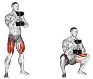 goblet squat con manubrio
